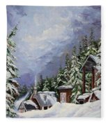 Snowy Mountain Resort Fleece Blanket