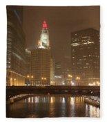 Snowy Night In Chicago Fleece Blanket