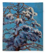 Snowy Pine-tree Fleece Blanket