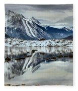 Snowy Reflections In Medicine Lake Fleece Blanket