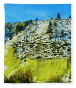Snowy Rock Mountain Fleece Blanket