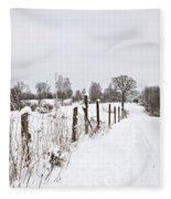 Snowy Rural Landscape Fleece Blanket