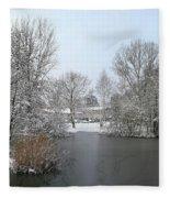 Snowy Scenery Round Canals Fleece Blanket