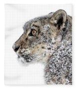 Snowy Snow Leopard Fleece Blanket