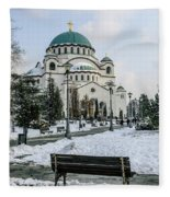 Snowy St. Sava Temple In Belgrade Fleece Blanket