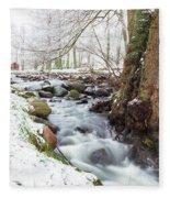 Snowy Stream Landscape Fleece Blanket