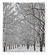 Snowy Treeline Fleece Blanket