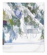 Snowy Trees In Winter Landscape  Fleece Blanket