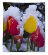 Snowy Tulips Fleece Blanket