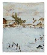 Snowy Village Fleece Blanket