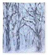 Snowy Woods  Fleece Blanket
