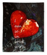 So In Love With You - Romantic Red Heart Painting Fleece Blanket