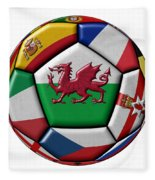 Soccer Ball With Flag Of Wales In The Center Fleece Blanket