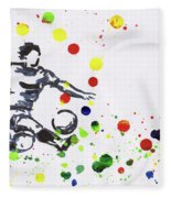 Soccer Player In Action Fleece Blanket