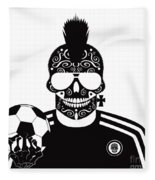Soccer Skull Icon Background With Sunglasses And Ball. Fleece Blanket