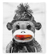 Sock Monkey Art In Black White And Red - By Sharon Cummings Fleece Blanket