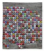 Soda Pop Bottle Cap Map Of The United States Of America Fleece Blanket