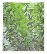 Soft Green And Gray Abstract Fleece Blanket