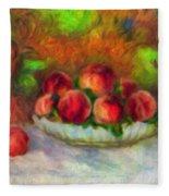 Soft Peaches Still Life Fleece Blanket