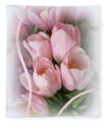 Soft Pink Tulips Fleece Blanket