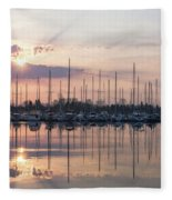 Softly - God Rays And Yachts In Rose Gold And Amethyst  Fleece Blanket