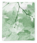 Softness Of Green Leaves Fleece Blanket