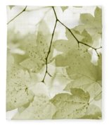 Softness Of Olive Green Maple Leaves Fleece Blanket