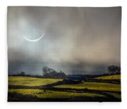 Solar Eclipse Over County Clare Countryside Fleece Blanket
