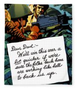 Soldier's Letter Home To Dad -- Ww2 Propaganda Fleece Blanket