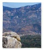 Solitary Pine On Promontory Fleece Blanket