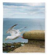 Solitary Seagull Take-off Fleece Blanket