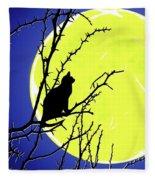 Solitary With Golden Moon Fleece Blanket