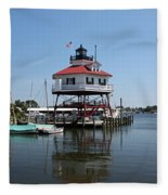 Solomons Island - Drum Point Lighthouse Reflecting Fleece Blanket