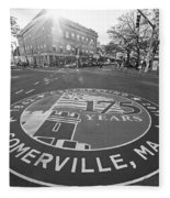 Somerville Ma Davis Square 175 Years Black And White Fleece Blanket