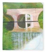 Sonning Bridge In Autumn Fleece Blanket