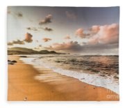 Soothing Seaside Scene Fleece Blanket