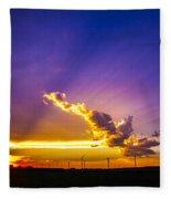 South Central Nebraska Sunset 008 Fleece Blanket