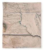South Dakota State Usa 3d Render Topographic Map Neutral Border Fleece Blanket