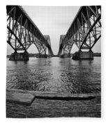 South Grand Island Bridge In Black And White Fleece Blanket