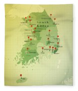 South Korea Map Square Cities Straight Pin Vintage Fleece Blanket