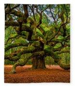 Angel Oak In Charleston Fleece Blanket