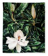 Southern Magnolia Bud And Bloom Fleece Blanket