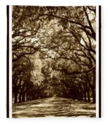 Southern Welcome In Sepia Fleece Blanket