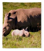 Southern White Rhino With A Little One Fleece Blanket