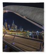 Southgate Bridge At Night Fleece Blanket