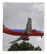 Southwest Airlines 737 On Approach Into Las Vegas Nv Fleece Blanket