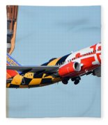Southwest Boeing 737-7h4 N214wn Maryland One Phoenix Sky Harbor January 19 2016 Fleece Blanket
