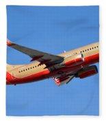 Southwest Boeing 737-7h4 N792sw Retro Gold Phoenix Sky Harbor January 21 2016 Fleece Blanket