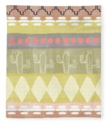 Southwest Cactus Decorative- Art By Linda Woods Fleece Blanket