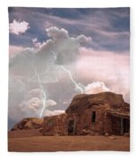 Southwest Navajo Rock House And Lightning Strikes Fleece Blanket
